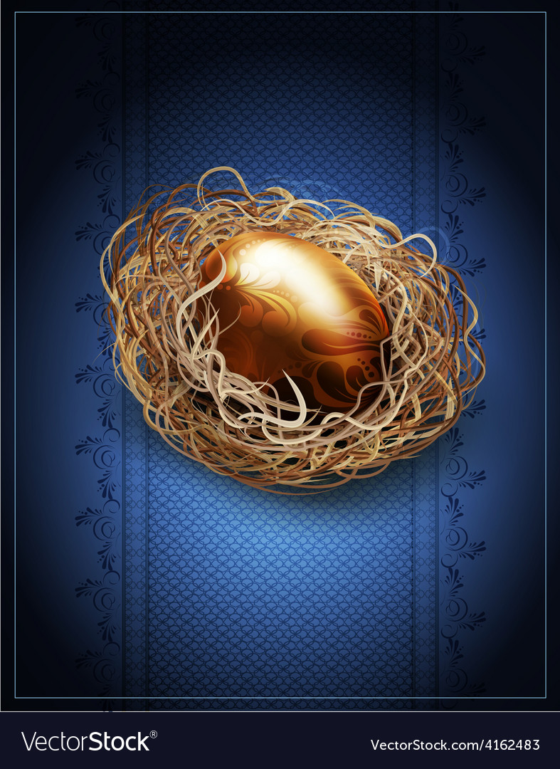 Easter vintage background with a golden egg in the vector | Price: 3 Credit (USD $3)