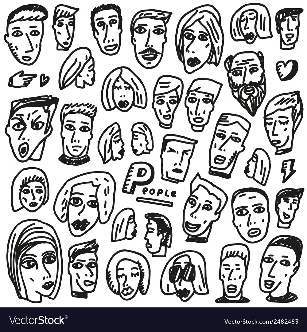 Faces - doodles collection vector | Price: 1 Credit (USD $1)