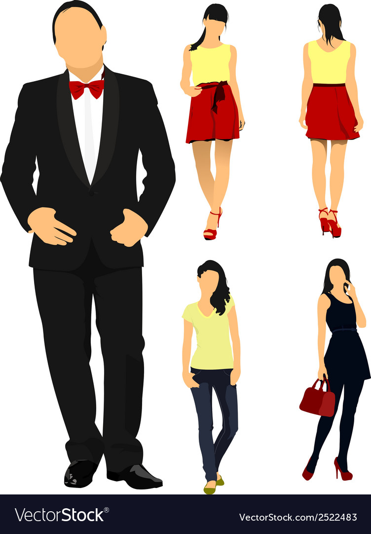 Fancy people dressed up vector | Price: 1 Credit (USD $1)