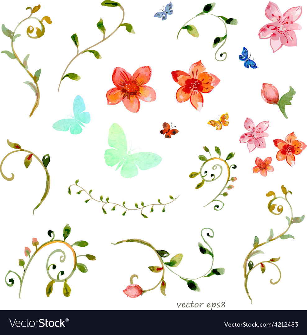 Foliate elements watercolor painting vector | Price: 1 Credit (USD $1)