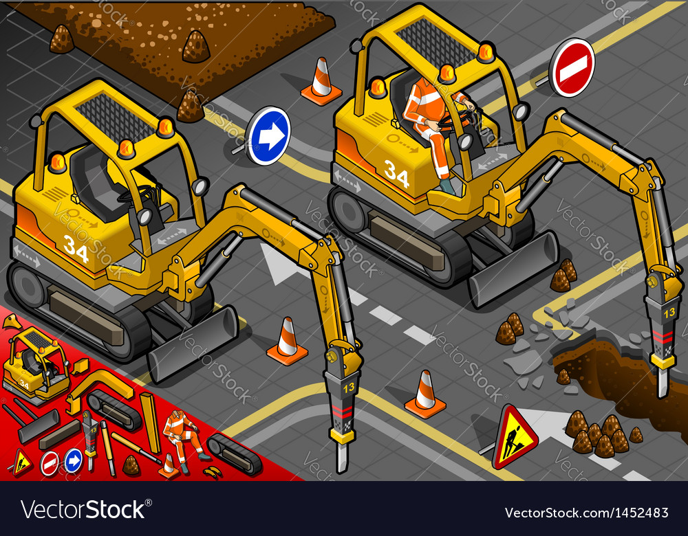 Isometric mini chisel excavator in front view vector | Price: 1 Credit (USD $1)
