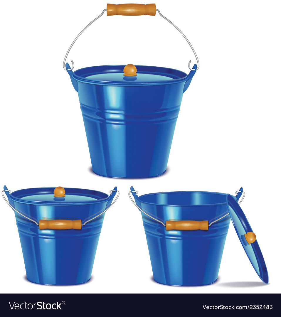 Metal blue buckets vector | Price: 1 Credit (USD $1)