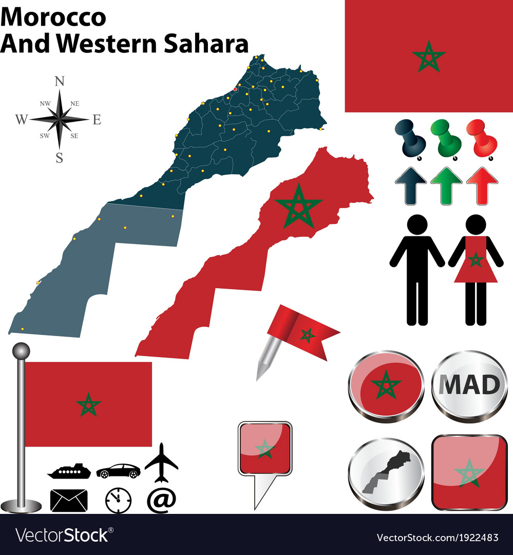 Morocco and western sahara map vector | Price: 1 Credit (USD $1)