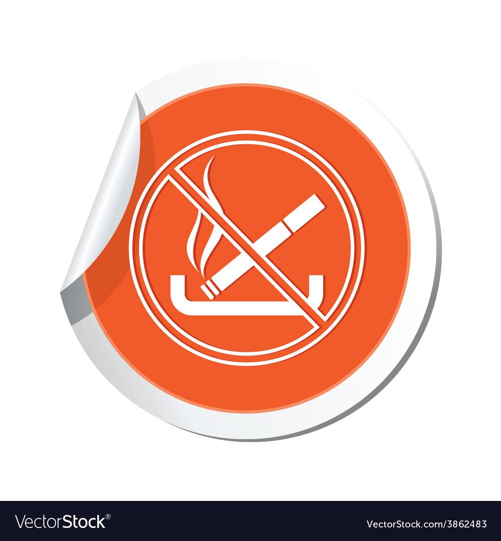 No smoking orange label vector   Price: 1 Credit (USD $1)