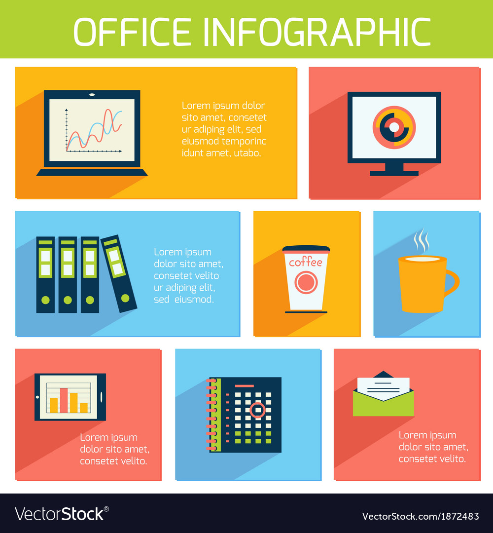 Office infographics flat business template vector | Price: 1 Credit (USD $1)