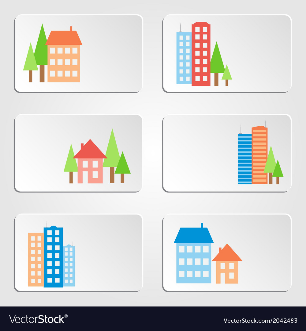 Six banners with colored houses and skyscrapers vector | Price: 1 Credit (USD $1)