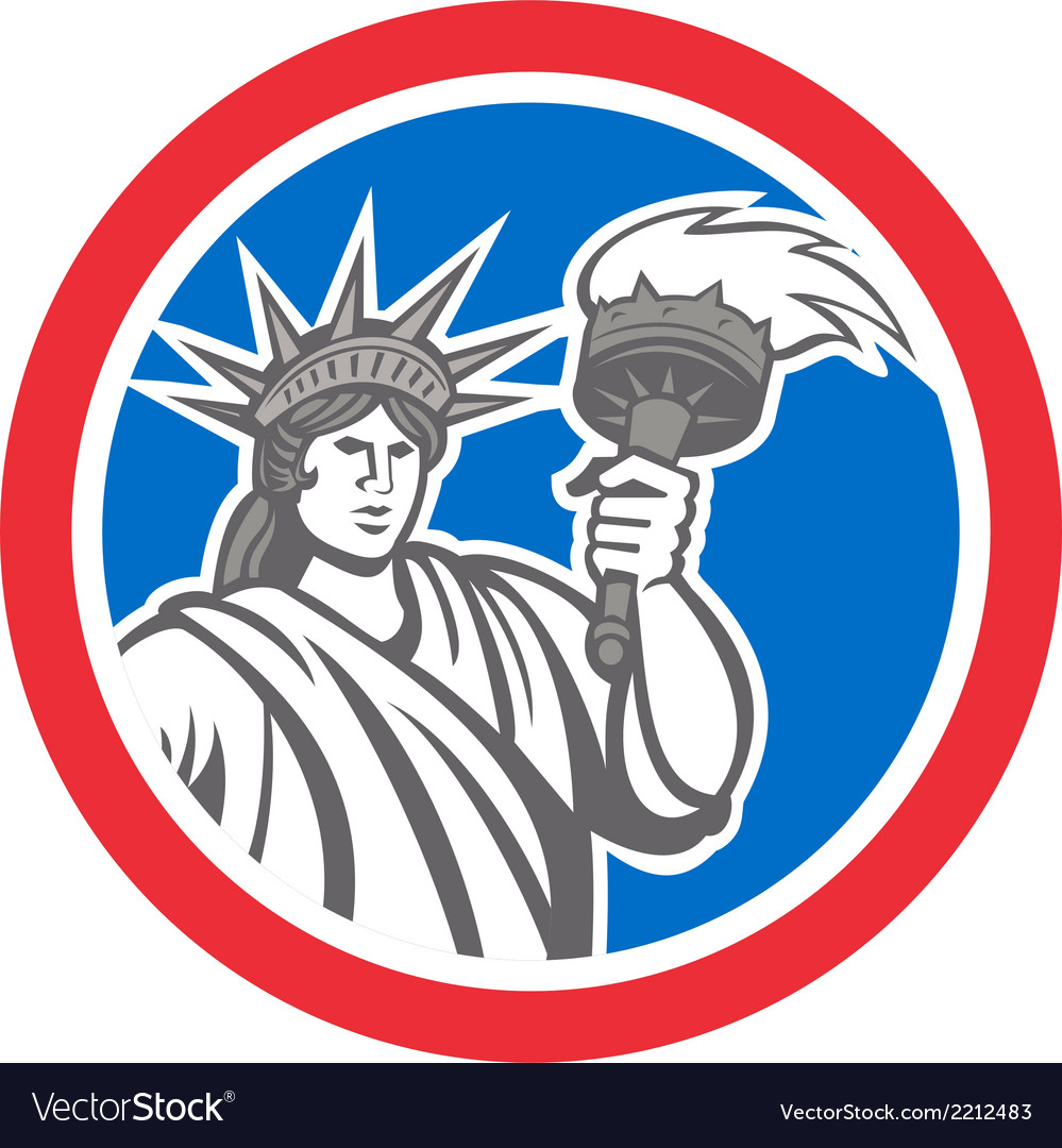 Statue of liberty holding flaming torch circle vector | Price: 1 Credit (USD $1)