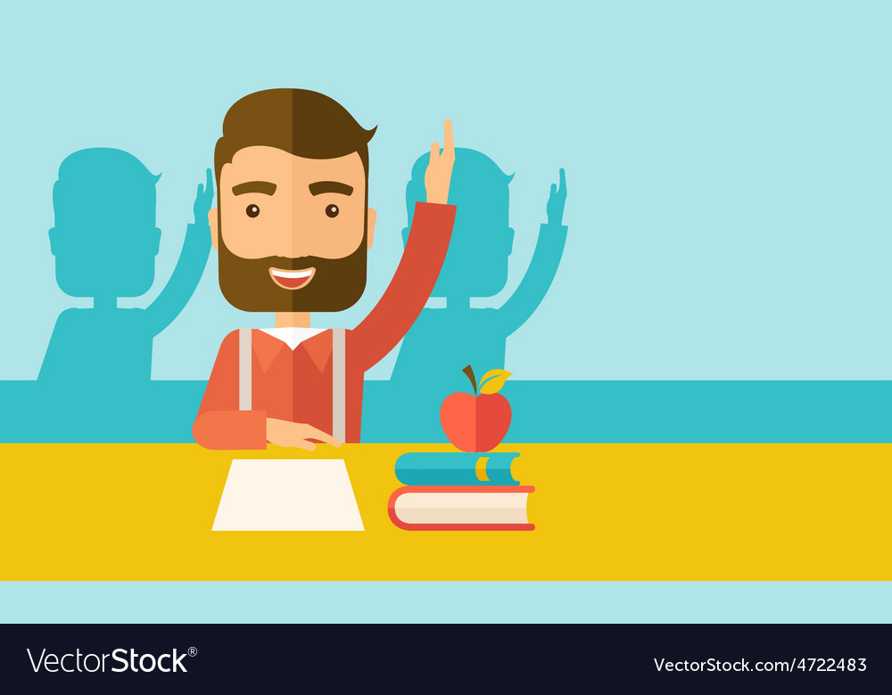 Student raising his hand vector | Price: 1 Credit (USD $1)