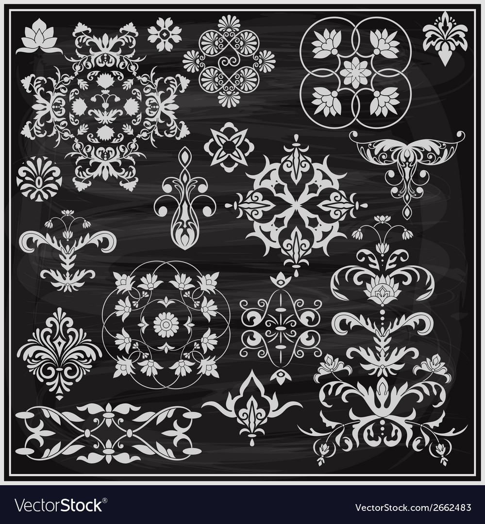 Vintage floral chalk drawn design elements vector | Price: 1 Credit (USD $1)