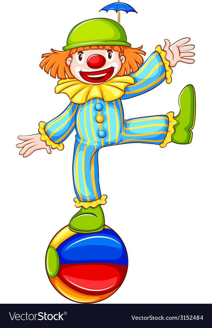 A sketch of a clown balancing above the ball vector | Price: 1 Credit (USD $1)