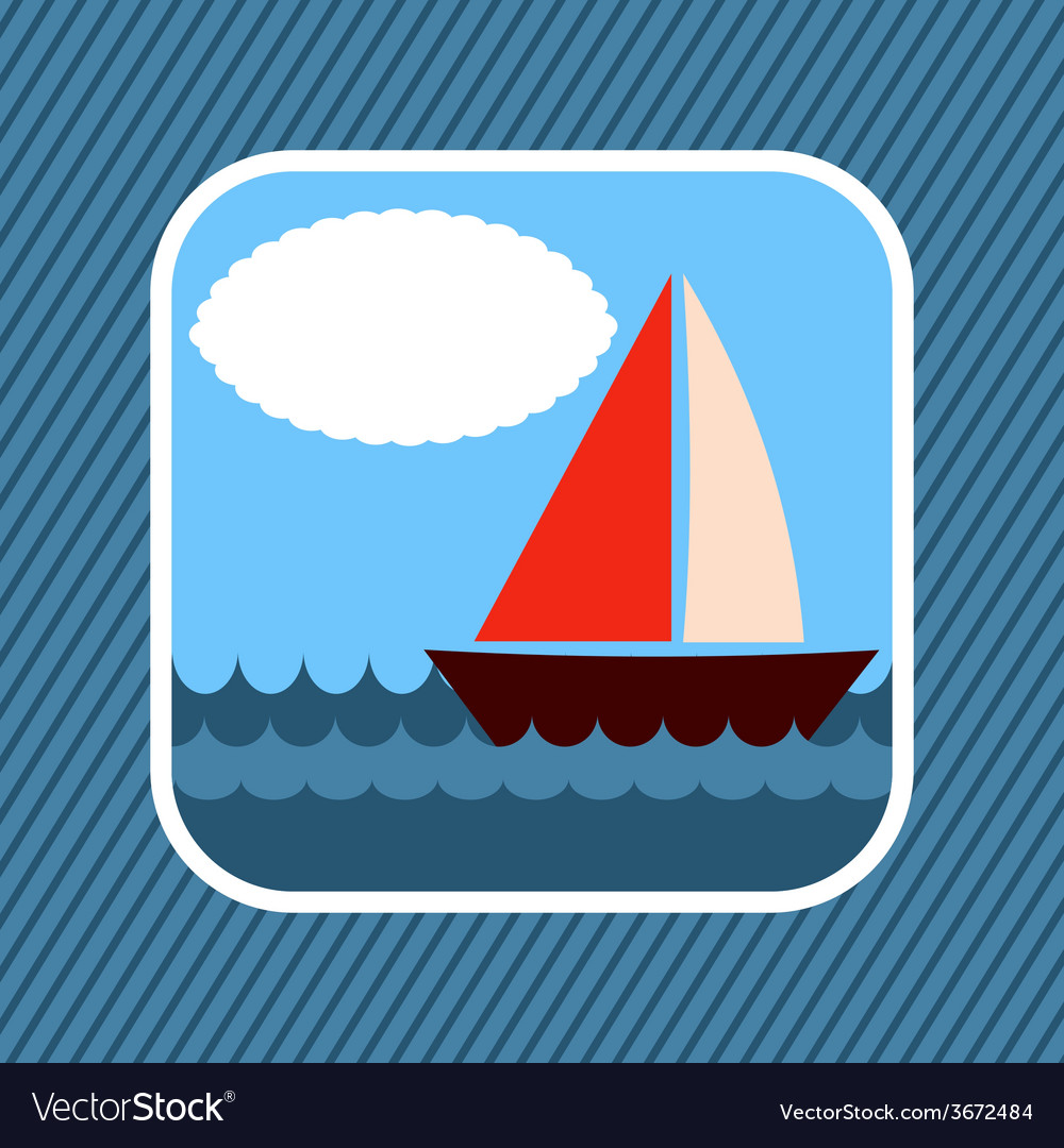 App icon boat in sea vector | Price: 1 Credit (USD $1)