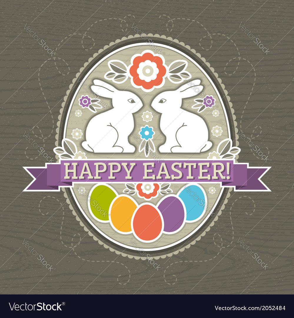 Background with easter eggs and two rabbit vector | Price: 1 Credit (USD $1)