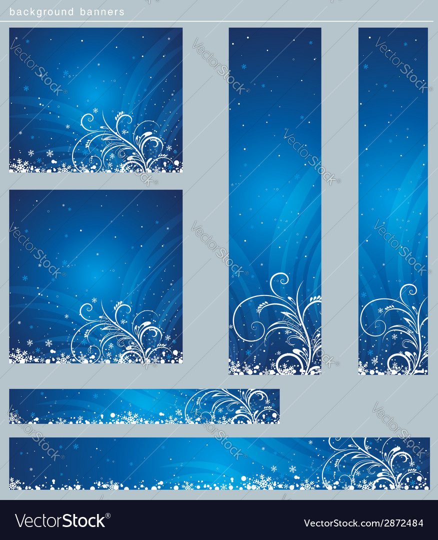 Blue christmas banners with snowflakes vector | Price: 1 Credit (USD $1)