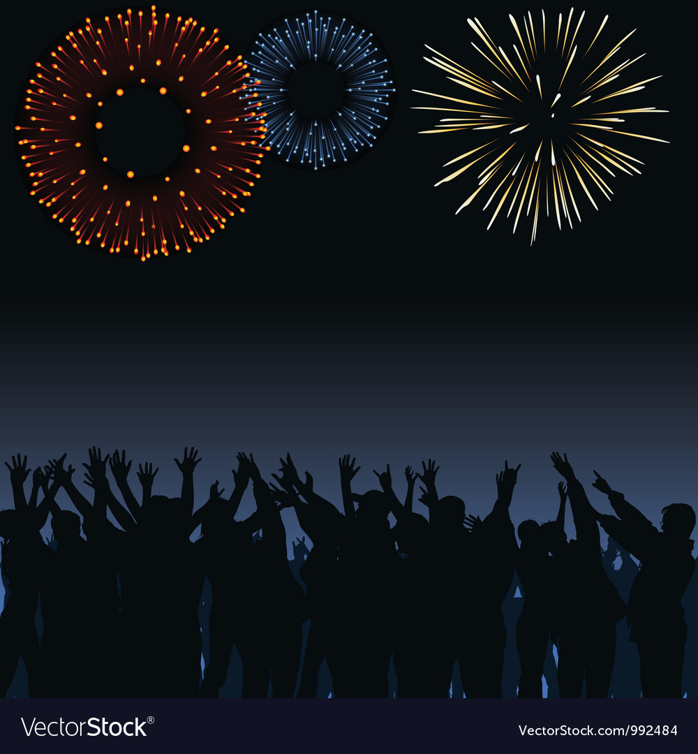 Fireworks and crowd vector | Price: 1 Credit (USD $1)