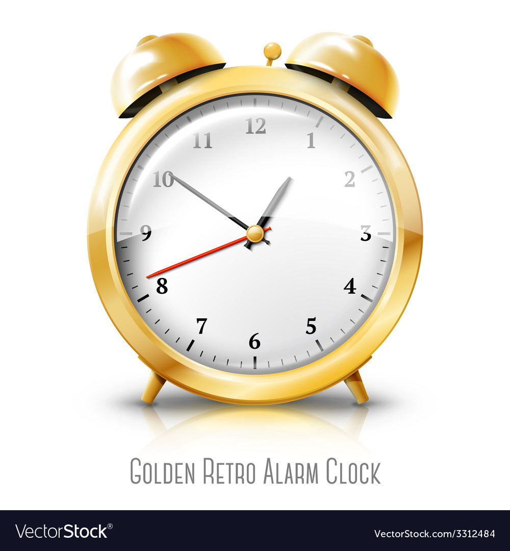 Golden alarm clock isolated on white background vector | Price: 1 Credit (USD $1)