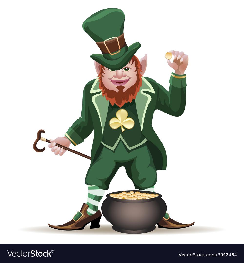 Joyful leprechaun with a cauldron vector | Price: 3 Credit (USD $3)