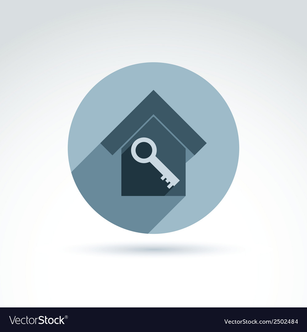 Monochrome house with a key isolated on white vector   Price: 1 Credit (USD $1)