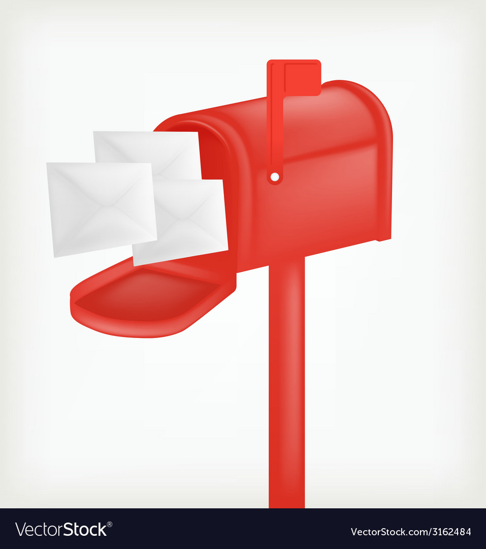 Red classic mailbox with mail vector | Price: 1 Credit (USD $1)