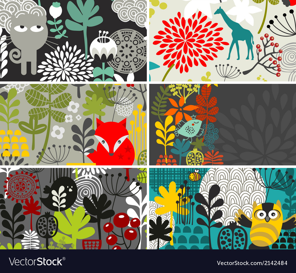Set of horizontal cards with birds and animals vector | Price: 1 Credit (USD $1)
