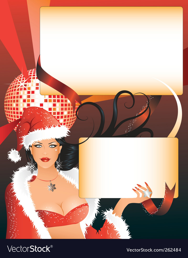 Sexy santa girl with placards vector | Price: 3 Credit (USD $3)