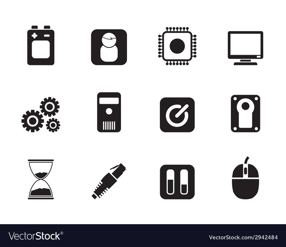 Silhouette computer and mobile phone elements icon vector | Price: 1 Credit (USD $1)