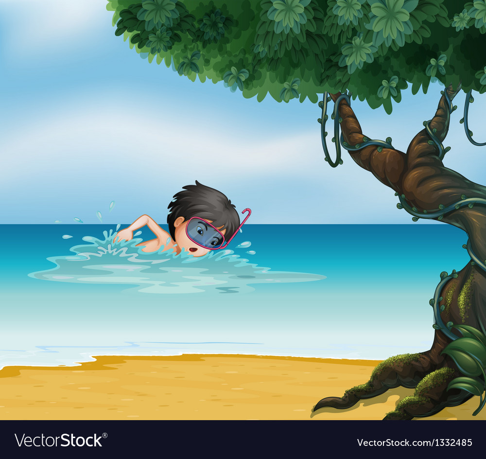 A boy swimming near an old tree vector | Price: 1 Credit (USD $1)