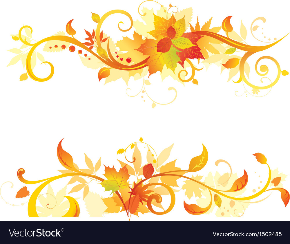 Autumn horisontal design elements vector | Price: 1 Credit (USD $1)