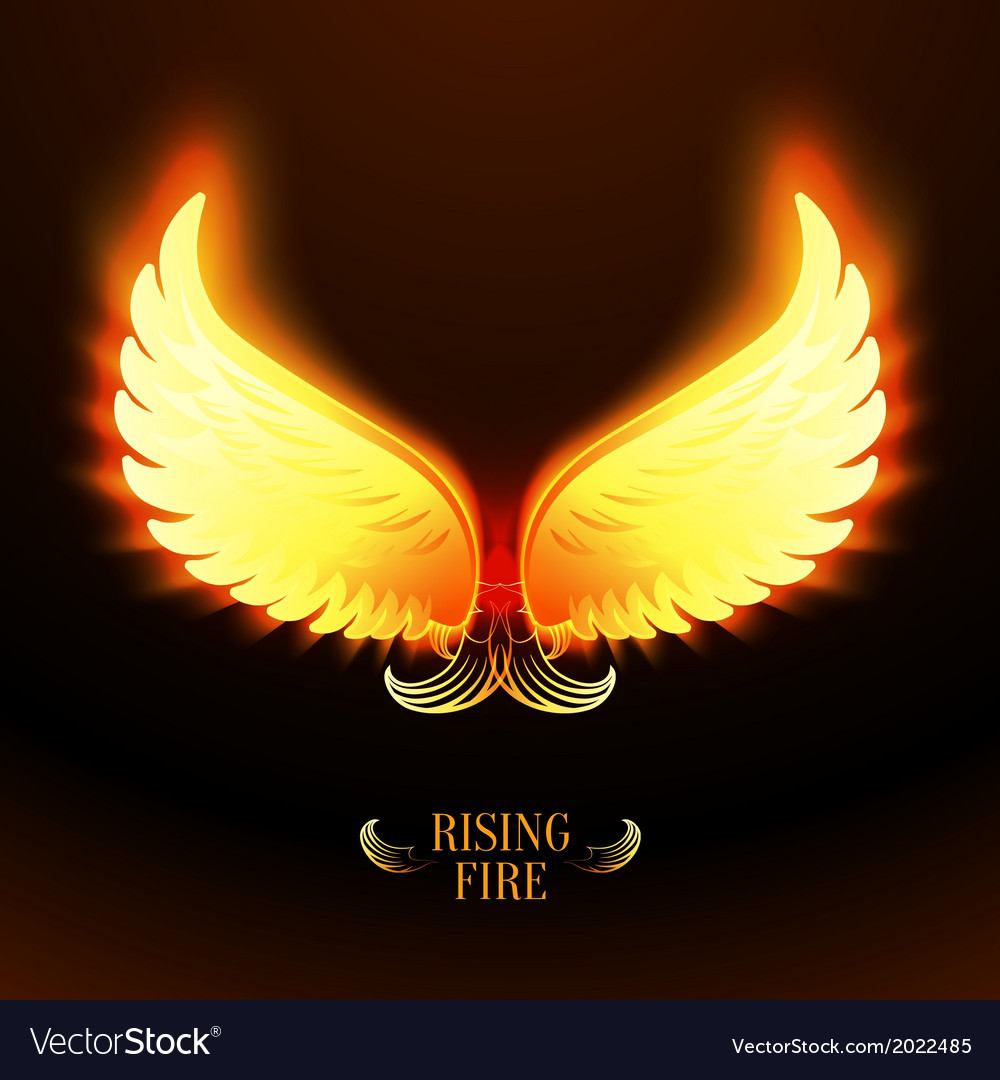Bright glowing fire angel wings vector | Price: 1 Credit (USD $1)