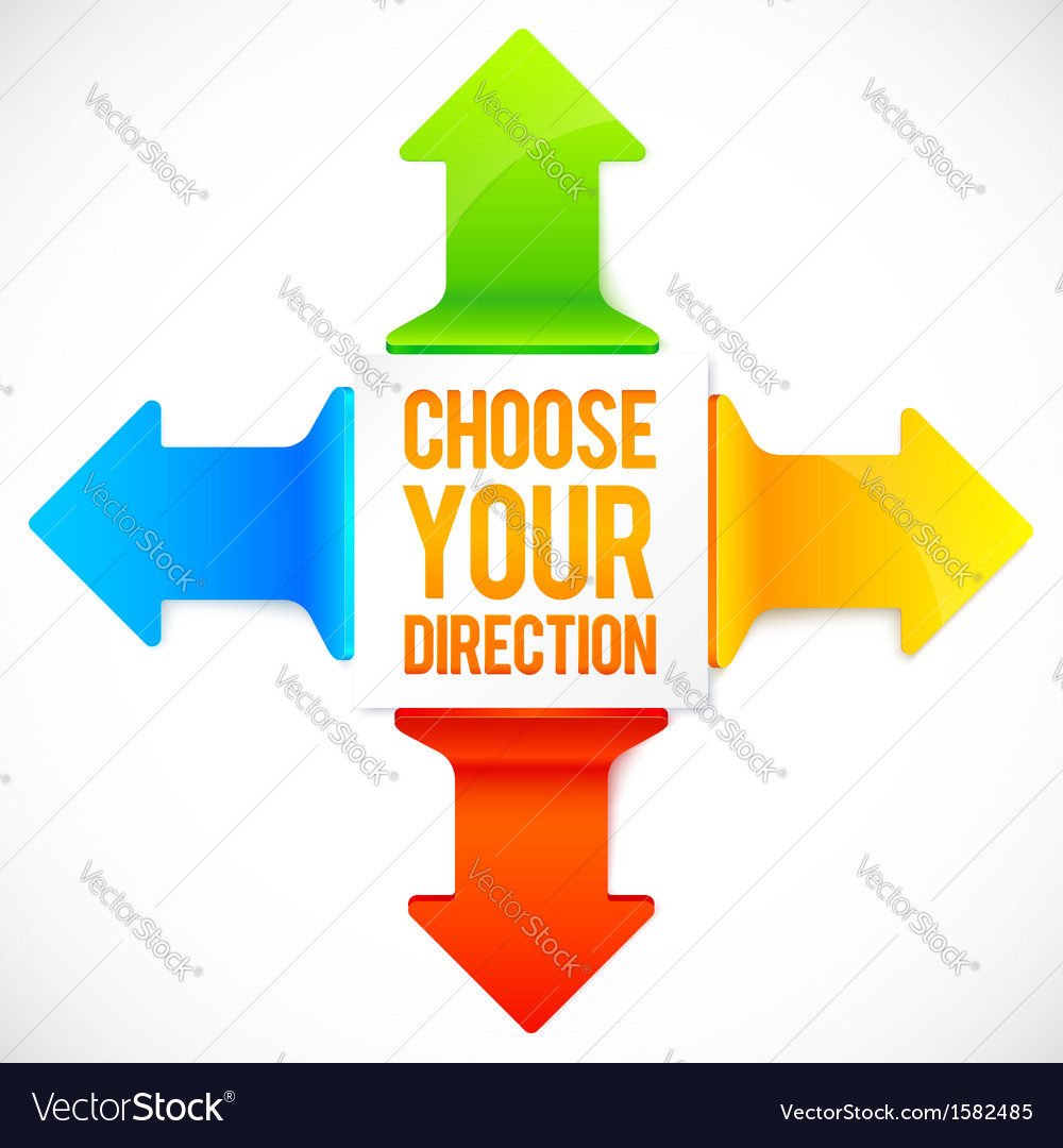 Colorful four directions arrows set vector | Price: 1 Credit (USD $1)