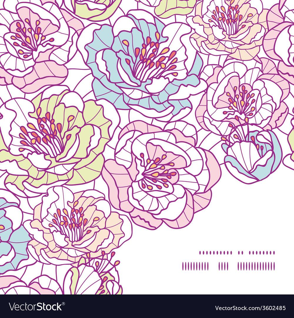 Colorful line art flowers frame corner pattern vector | Price: 1 Credit (USD $1)