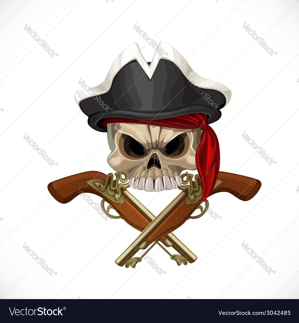 Jolly roger in pirat hat and with pistols vector | Price: 3 Credit (USD $3)