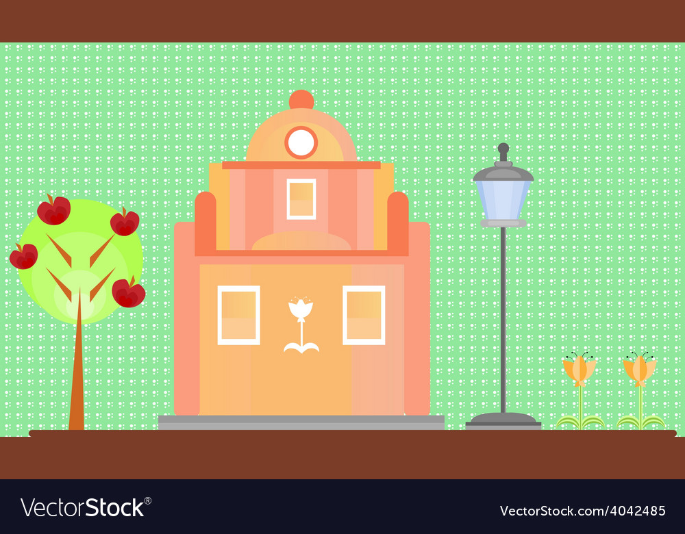Pink house on green background vector | Price: 1 Credit (USD $1)