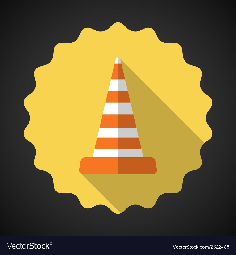 Police road cone flat icon background vector | Price: 1 Credit (USD $1)