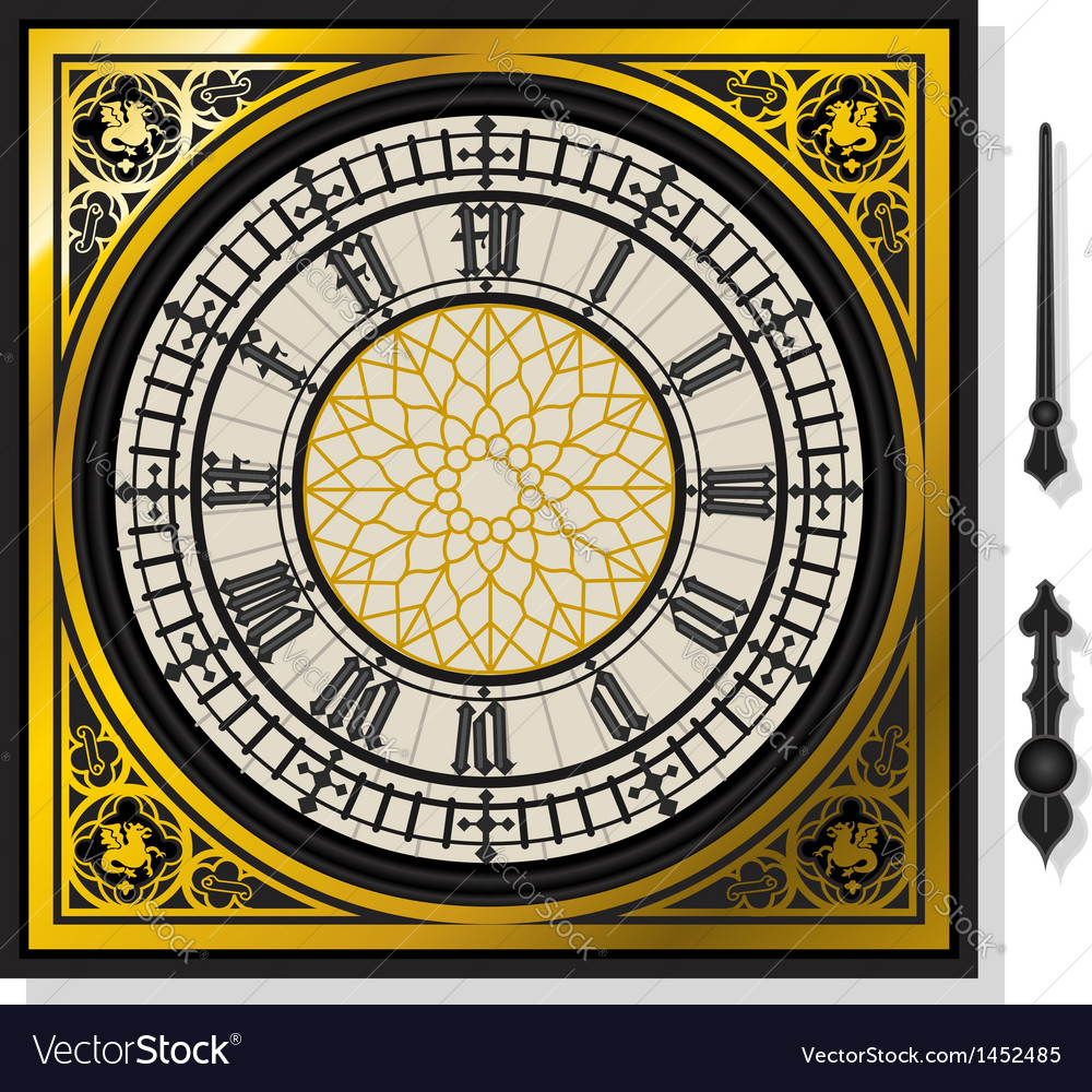 Quadrant of victorian clock with lancets vector | Price: 1 Credit (USD $1)