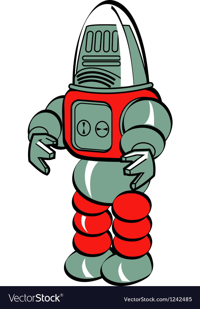 Retro toy robot vector | Price: 1 Credit (USD $1)