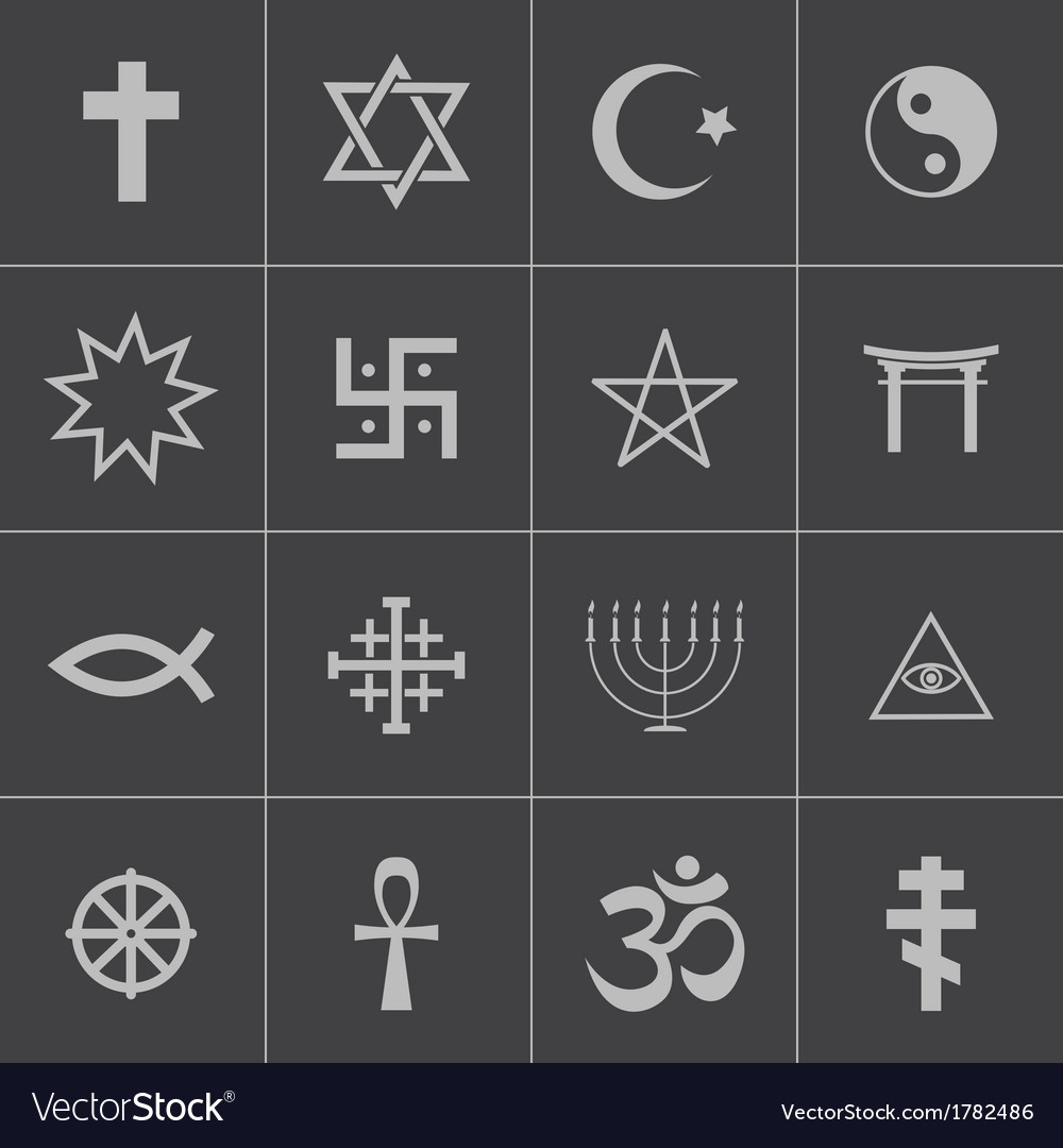 Black religious symbols set vector | Price: 1 Credit (USD $1)