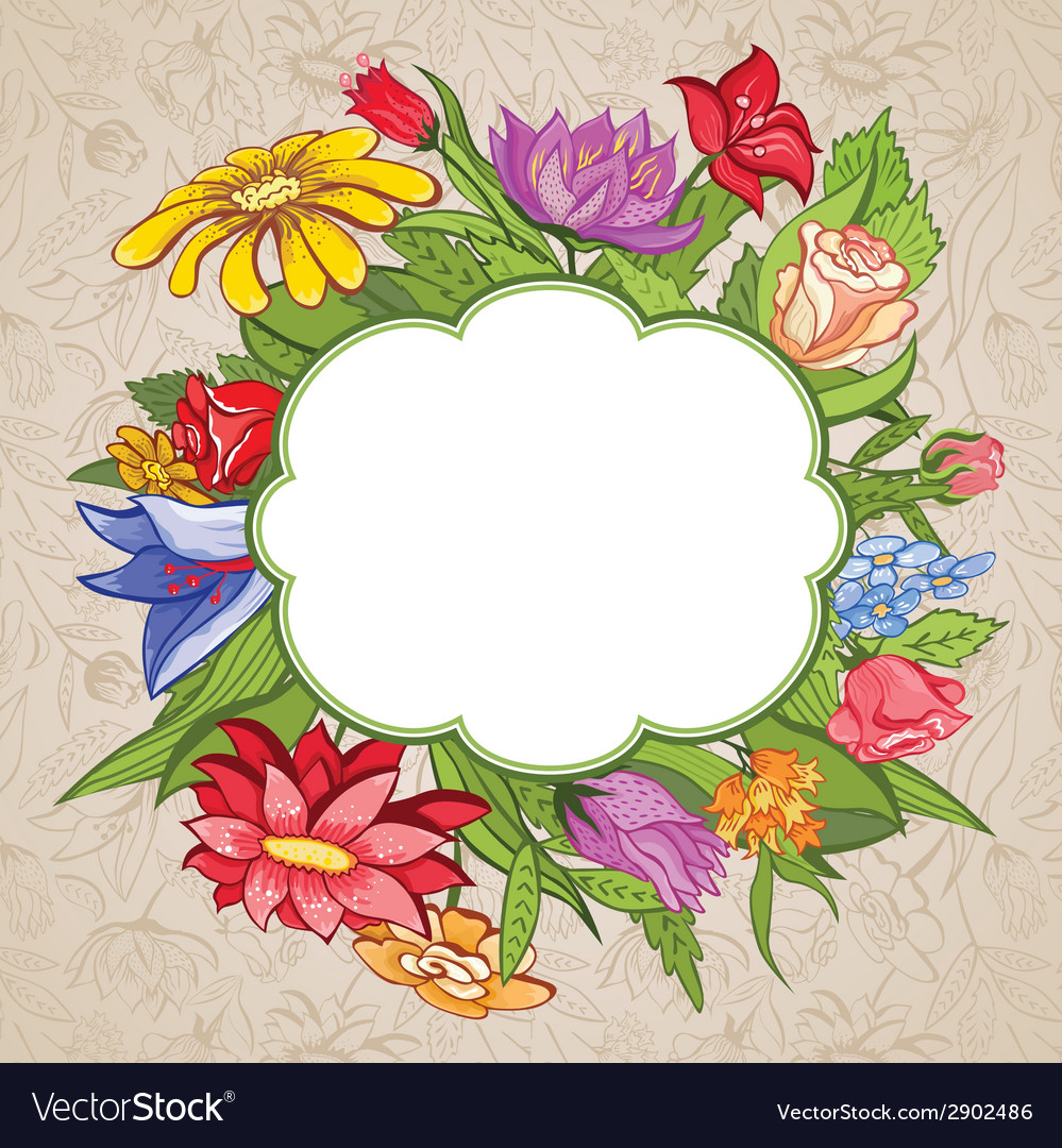 Bright flower frame vector | Price: 1 Credit (USD $1)