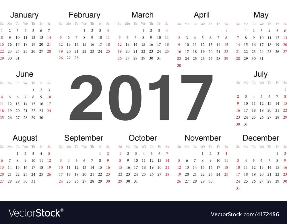 Circle european calendar 2017 vector | Price: 1 Credit (USD $1)