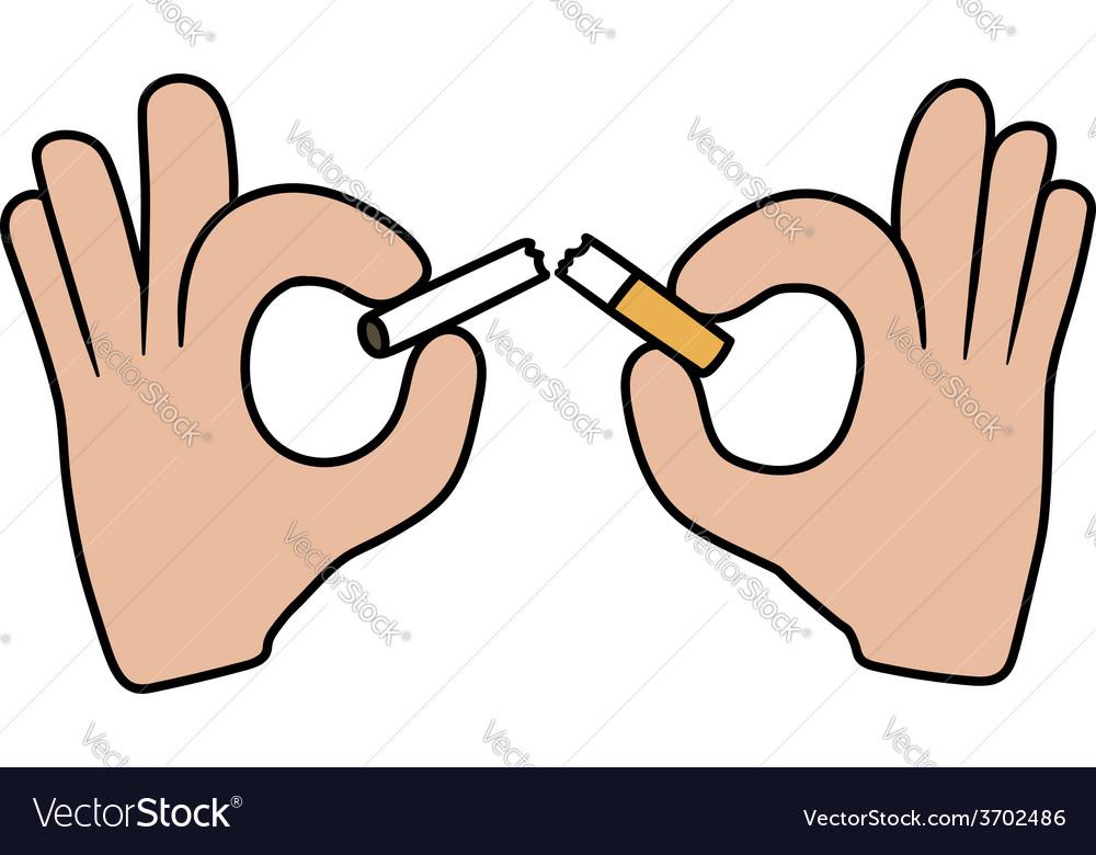 Hands breaking the cigarette vector | Price: 1 Credit (USD $1)