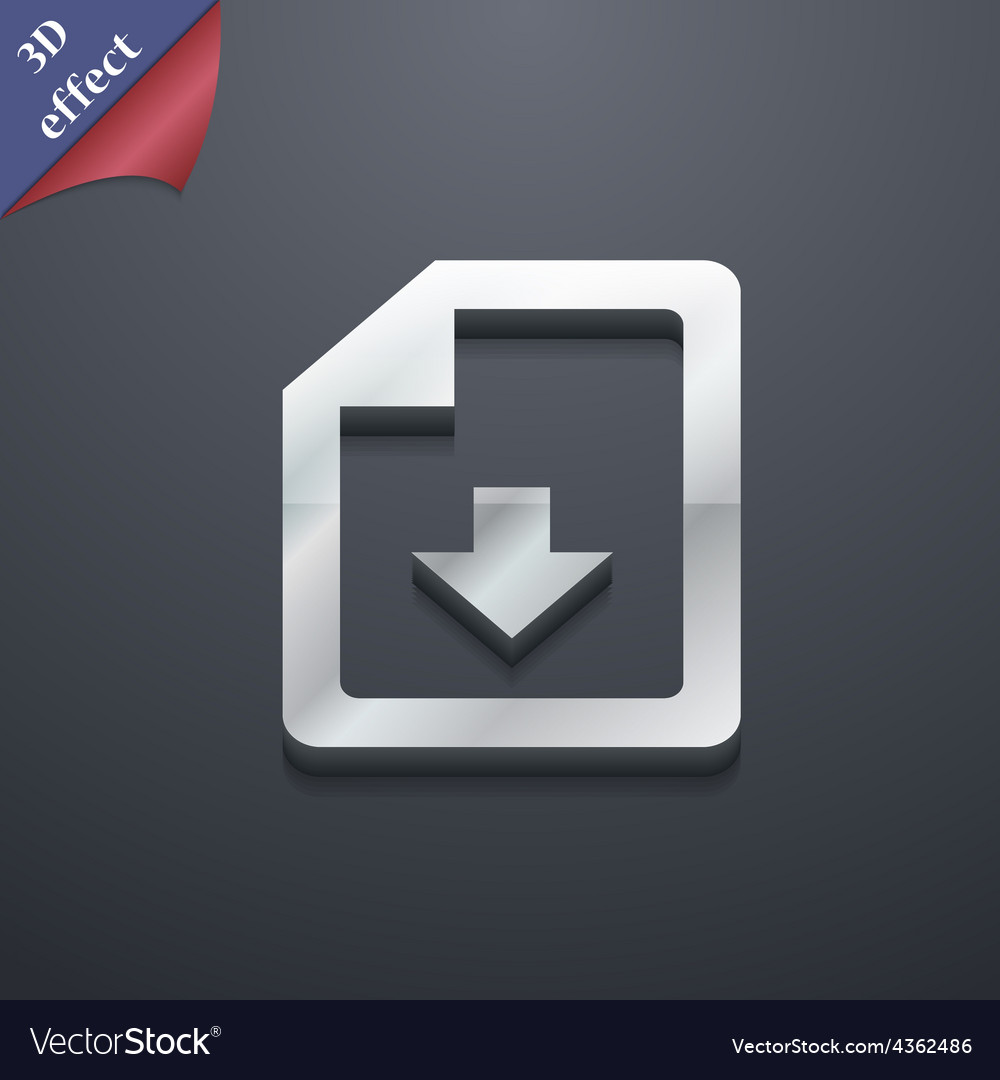 Import download file icon symbol 3d style trendy vector | Price: 1 Credit (USD $1)