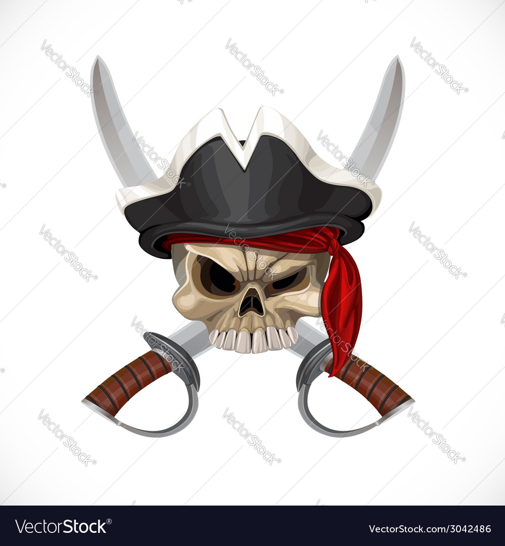 Jolly roger in pirat hat and with sabers vector | Price: 3 Credit (USD $3)