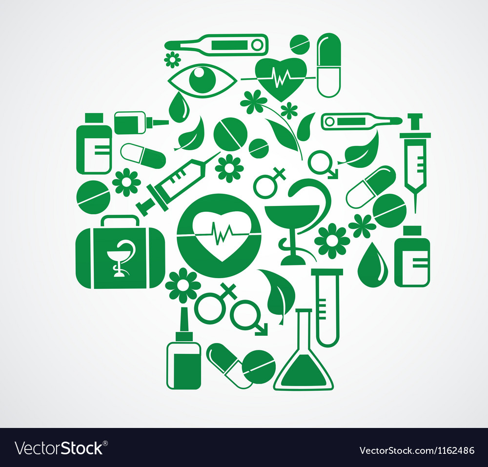 Medical cross with health icon set on white vector | Price: 1 Credit (USD $1)