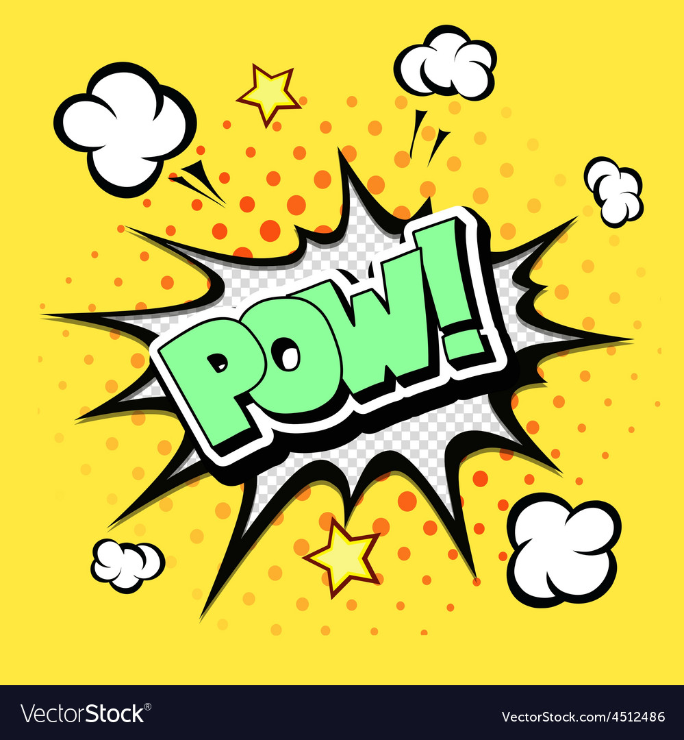 Pow  comic speech bubble cartoon vector