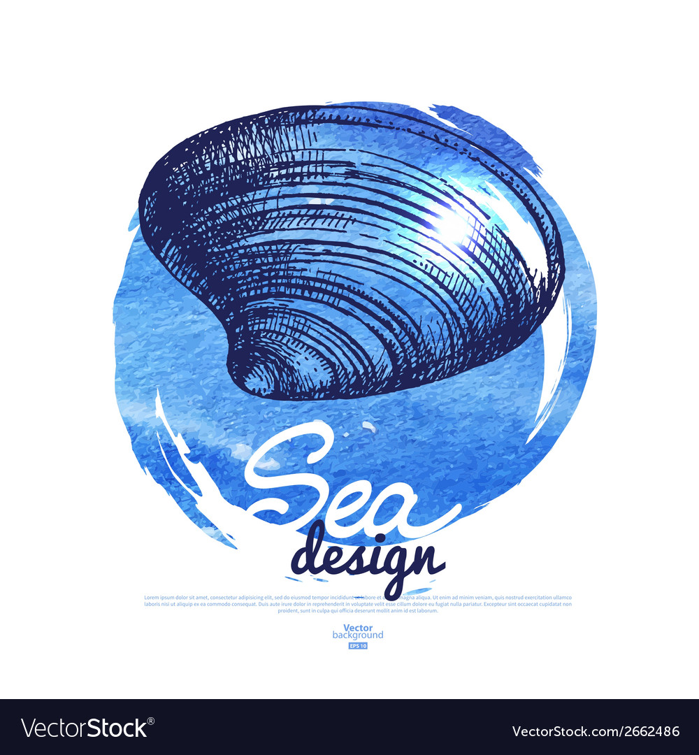 Seashell banner sea nautical design vector | Price: 1 Credit (USD $1)