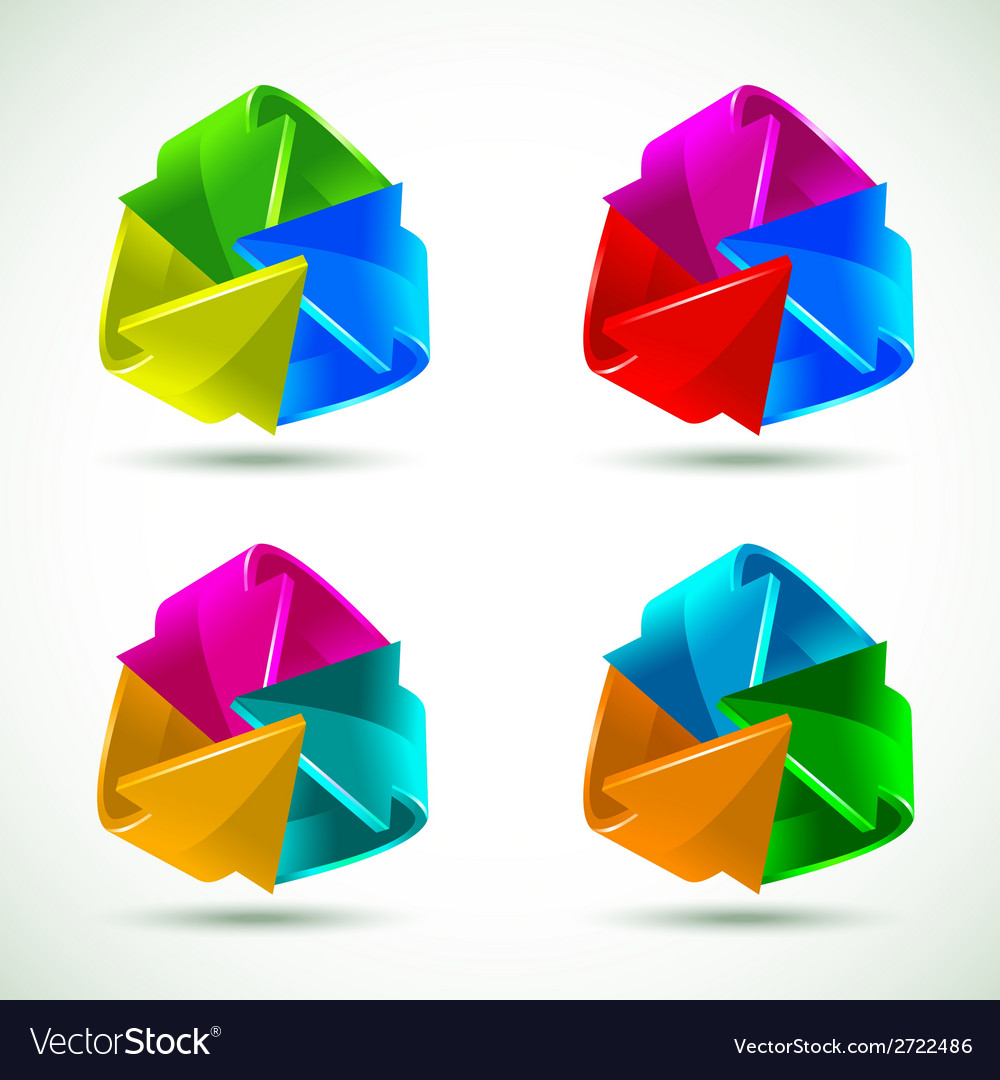 Set of colorful arrows icons vector | Price: 1 Credit (USD $1)