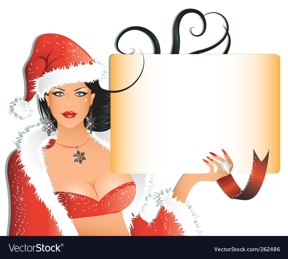 Sexy santa girl with background vector | Price: 3 Credit (USD $3)