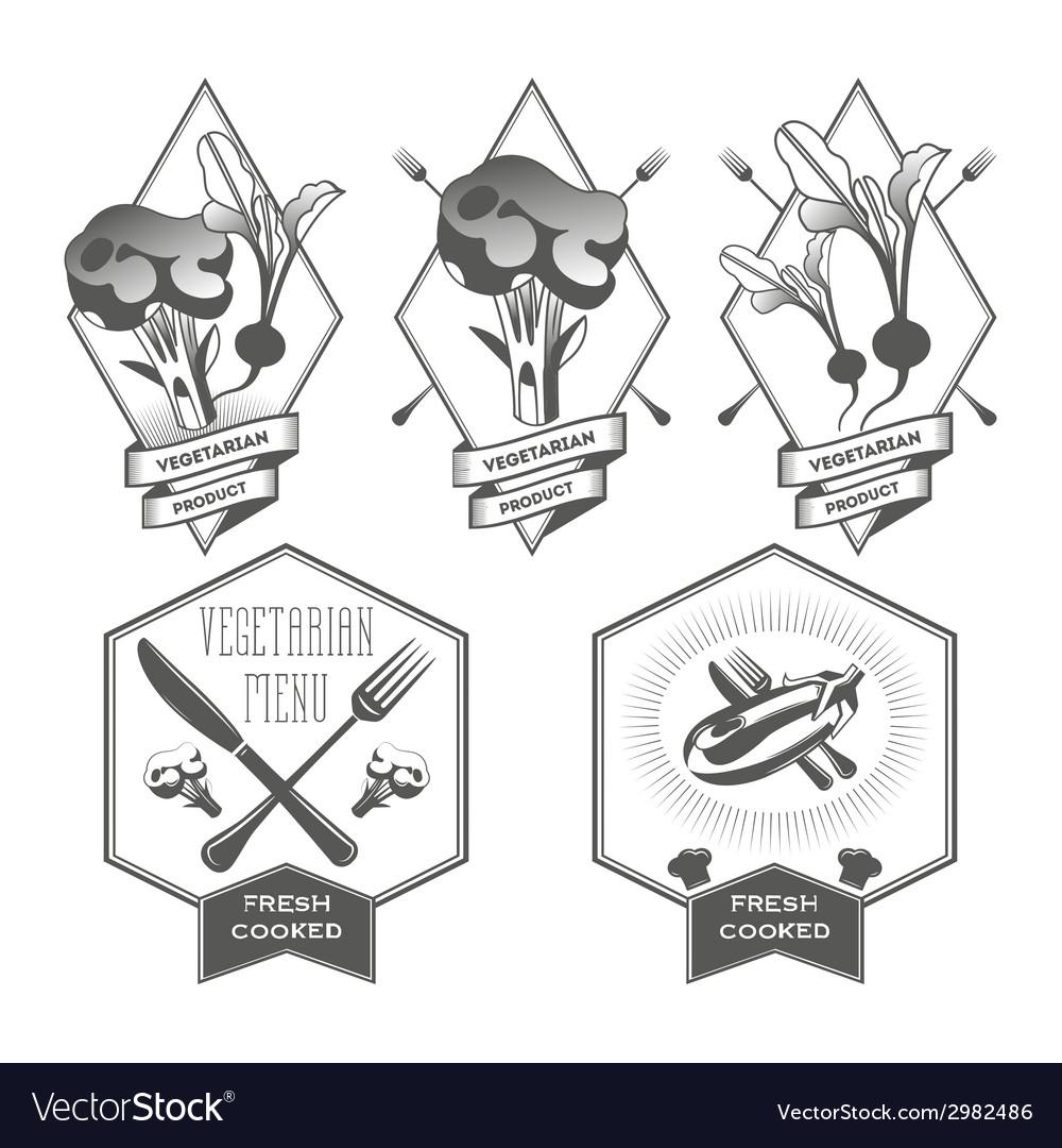 Vegan set of design elements vector