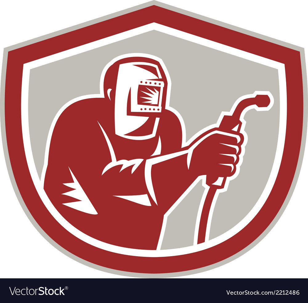 Welder worker holding welding torch shield retro vector | Price: 1 Credit (USD $1)