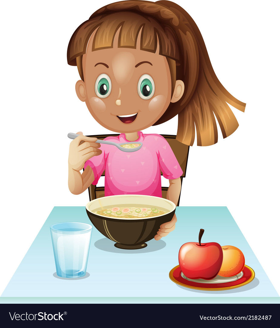 A girl eating breakfast vector | Price: 1 Credit (USD $1)