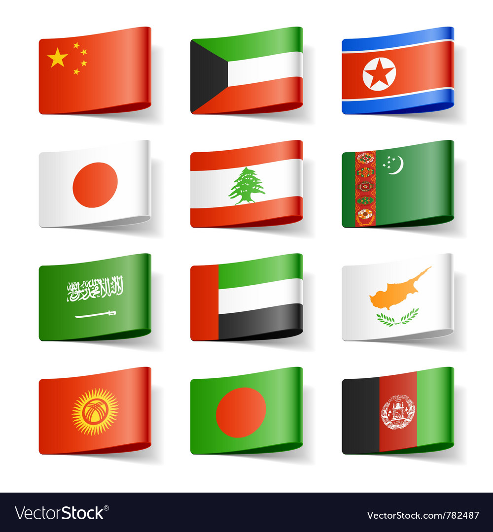 Asia flags vector   Price: 1 Credit (USD $1)